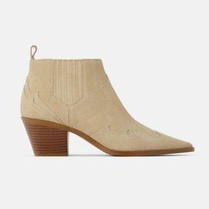 Zara Genuine Suede Western Ankle Boots